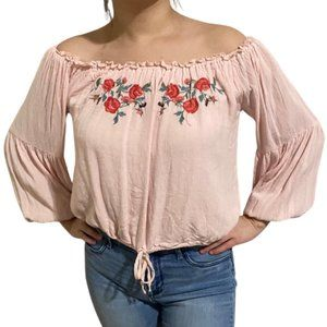 3/$25 Hollister Pink Peasant Embroidered Blouse
